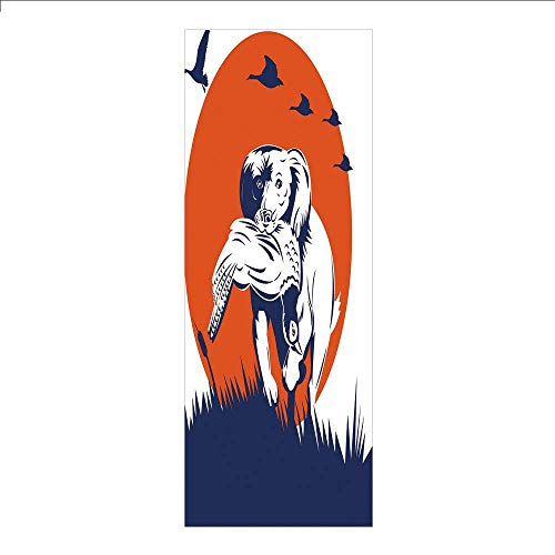 Yaoni 3D Decorative Film Privacy Window Film No Glue,Hunting Decor,Cocker Spaniel Gun Dog Retrieving Pheasant Flying Ducks at Sunset,Dark Blue Orange White,for Home&Office (Best Gun For Pheasant Hunting)