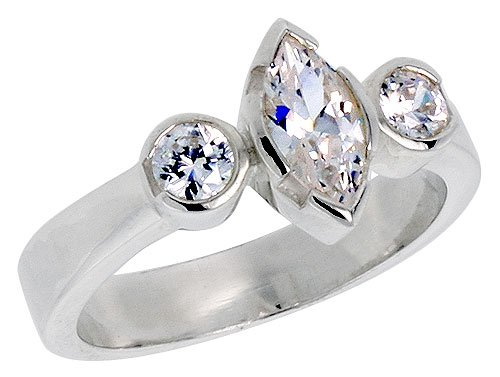 Available in Sizes 6 to 10 Sterling Silver .40 Carat Size Marquise Cut Cubic Zirconia Bridal Ring size 8