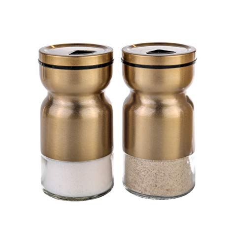 Salt-and-pepper-shakers-Elegant-salt-and-pepper-shaker-with-lid-Adjustable-pour-hole-Stainless-Steel-salt-and-pepper-shaker