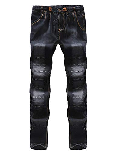 Vintage Pantaloni Skinny Jeans Denim Uomini Destroyed Fit Tratto Usati Slim Nero zHtPq