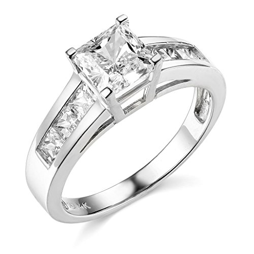 14K White Gold Princess-cut 2.00 CTW Equivalent CZ Cubic Zirconia Ladies Solitaire Wedding Engagement Ring Band – Size 8