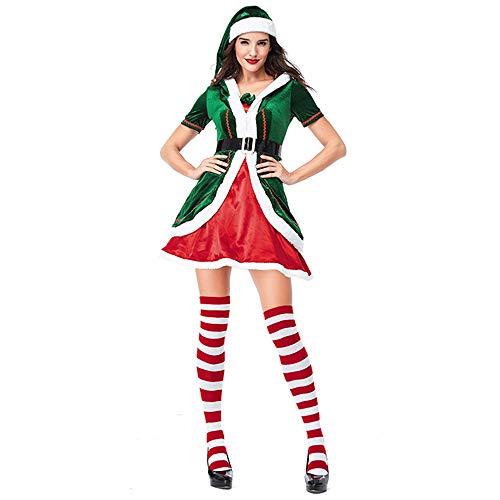 Homelex Christmas Elf Costume Adult Men and Women Velvet Complete Costume Kit (L/12-14, Women) ()