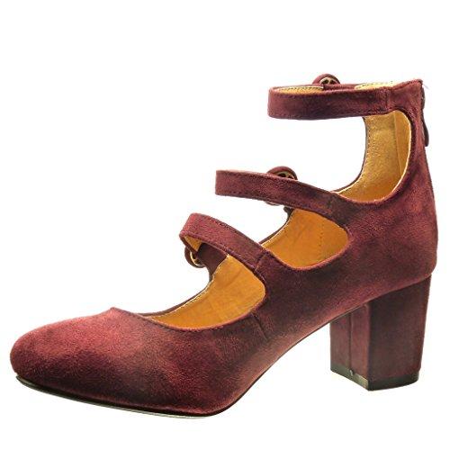 Tanga Hebilla 6 Escarpín Zapatillas Tacón Talón Angkorly Cm Ancho Moda Mujer Rojo Alto qAYxwT