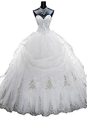 Lovelybride Gorgeous Beaded Gold Appliques Puffy Wedding Ball Gown with Long Train