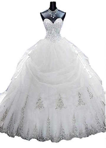 Lovelybride Gorgeous Beaded Gold Appliques Puffy Wedding Ball Gown with Long Train (26w, White)