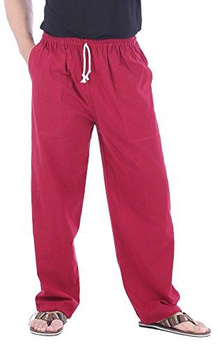 CandyHusky Men Casual Lounge Jogging Workout Yoga Pants Elastic Waist Drawstring (Medium/Large, Red) (Best Lounge Pants Ever)