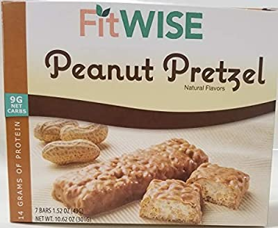 HealthWise- Divine Peanut Pretzel Bar - 14 Grams of Protein - 9 Grams Net Carbs- for Diet and Weight Loss - Appetite Suppressant - Hunger Control - 7 Bars 1.52 OZ Net Weight 10.62 OZ by Fit Wise