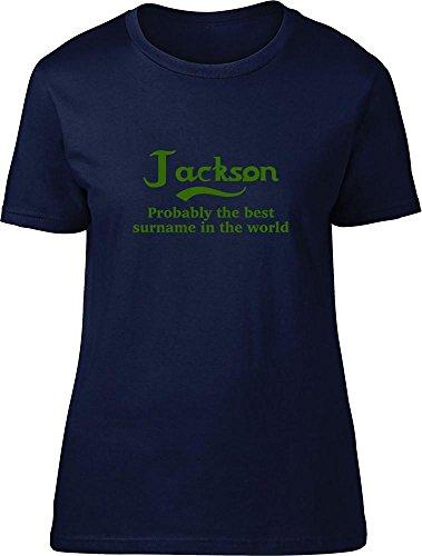 Jackson probablemente la mejor apellido en el mundo Ladies T Shirt azul marino