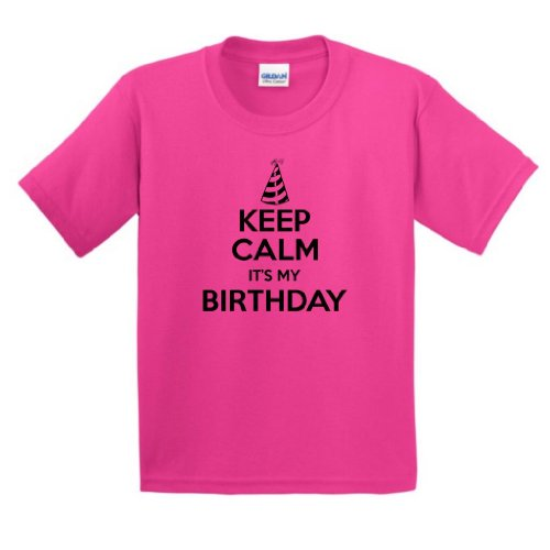 Price comparison product image ThisWear Keep Calm It's My Birthday Youth T-Shirt XL Heliconia