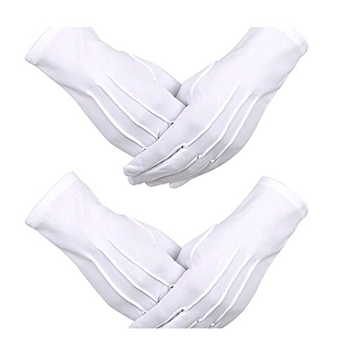 ORYOUGO 2 Pair White Formal Tuxedo Honor Guard Parade Inspection Collection Serve Gloves ()