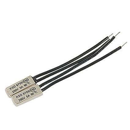 DealMux 2 Pcs KSD9700 NC bimetálico termostato Temperatura Interruptor 90C 194 s 250V 5A