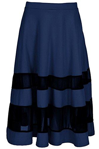 Joddie Haha Womens Ladies Mesh Block Panel Elasticated Flared Franki Skater Midi Skirt Navy4/6