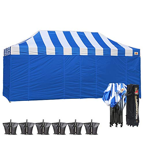ABCCANOPY Carnival Blue 10 X 15 Ez Pop up Canopy Tent Commercial Instant Gazebos with 6 Removable Blue Sidewalls and Roller Bag and 4X Weight Bag