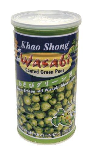 KHAO SHONG Grüne Erbsen mit Wasabi, sehr scharf, 4er Pack (4 x 280 g Dose)