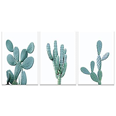 Dark Green Succulents Painting Artwork for Home Framed x 3 Panels, Made to Last, Dazzling Creative Design
