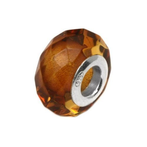 Amber Sterling Silver Faceted Round Charm (Amber Charms)