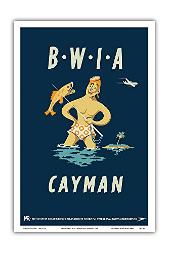 Cayman Islands   British West Indies Airways Bwia  Bee Wee    Vintage Airline Travel Poster By Dick Negus   Philip Sharland C 1950S   Master Art Print   12In X 18In