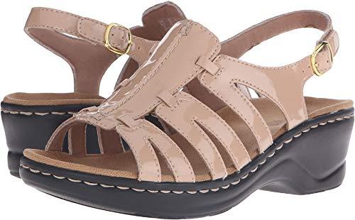 (CLARKS Women's Lexi Marigold Q Nude Patent Sandal 9.5 B (M))