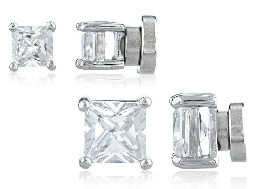 2 Pack Magnetic Stud Earrings Round & Square Studs Set (4mm & 6mm Square Silvertone) (E-1512 + E-1514)