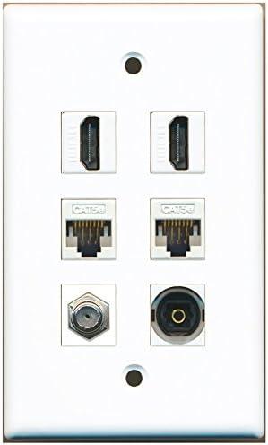 RiteAV – 2 HDMI 1 puerto – Cable de antena TV- Coaxial 1 Puerto Toslink 2 Puerto Cat5e Ethernet blanco placa de pared