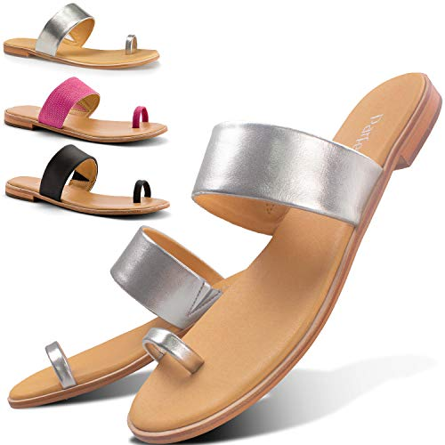 Parfeying Sandals for Women, Adjustable Leather Strap with Toe Ring Metallic Flat Slides (L10333, Silver, US 11)