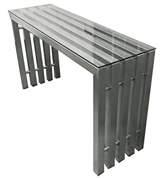 Beau Vita Brushed Stainless Steel Console Table