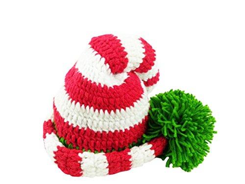 Olyer Christmas Green Red Crochet Baby ELF Long Tail Pom-pom Hat (3-9 Months, Green red White Stripe) ()