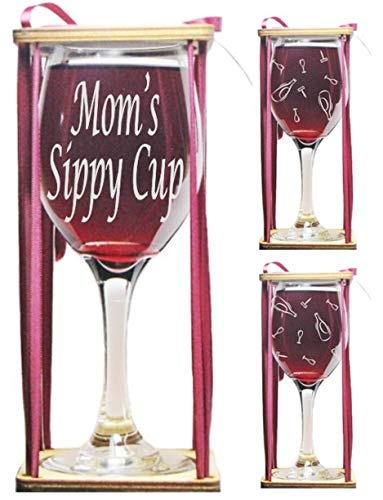 Mom's Sippy Cup 360 Degree Engraved Wine Glass with Charm