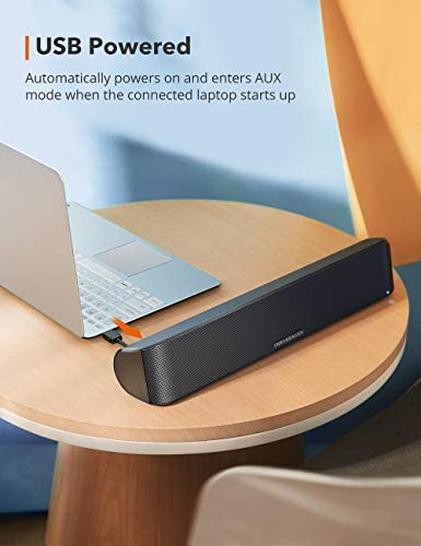 TaoTronics Computer Speaker, Bluetooth 5.0 Wireless PC Soundbar, Stereo USB Powered Sound Bar Speaker for Computer Laptop Smartphone Tablet Game Console, Aux Connection