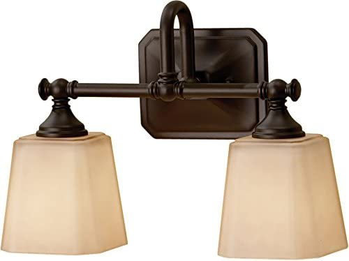 Feiss VS19702-ORB Concord Glass Wall Vanity Bath Lighting, 2-Light, 200watts, Bronze 14 W by 10 H