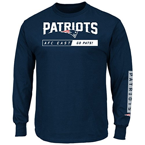 New England Patriots Navy Primary Receiver 2 Long Sleeve Football Tee Shirt (XL=46)