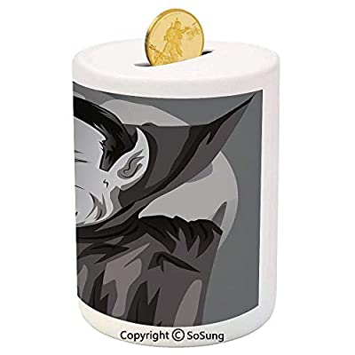 Vampire Ceramic Piggy Bank,Cartoon Style Count Dracula Angry Look Evil Expression Gothic Horror Monster Decorative 3D Printed Ceramic Coin Bank Money Box for Kids & Adults,Grey Black White: Toys & Games