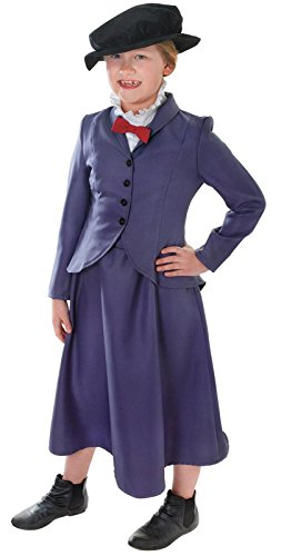 [Mary Poppins Victorian Nanny Childs Fancy Dress Costume - M 134cms] (Mary Poppins Costume Child)