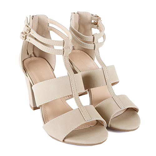 (Womens Comfortable Strappy Chunky Block Ankle Strap Open Toe Heeled Sandals (5.5 M US, Beigev6 Nub))