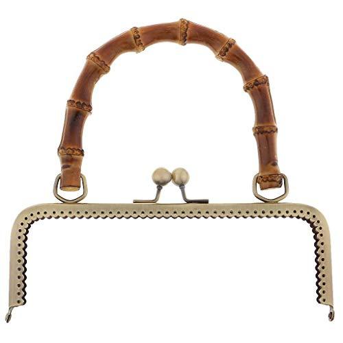 Vintage Metal Frame Kiss Clasp with Bamboo Handle DIY Handbag Purse Accessories | Size-Color - 20cm Bronze
