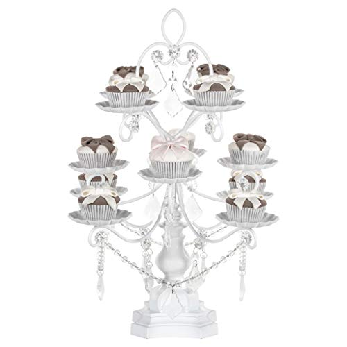 Madeleine Collection' 12 Piece Cupcake Stand, Dessert Display Tower with Crystal Dangles (White)