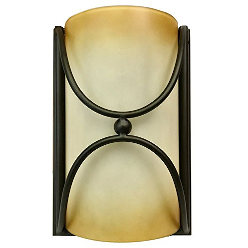 1-Light Bronze Rustic Wall Sconce   Up & Down Light - Amber Ombre Glass for Wall, Living Room, or Hallway Lighting