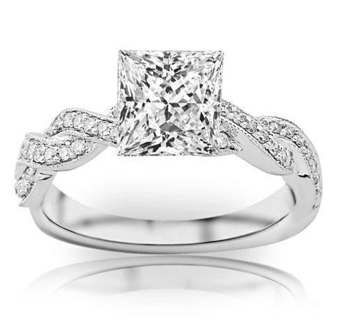 Princess Cut Diamond Eternity Ring - 1 Carat Princess Cut Twisting Designer Eternity Love Split Shank Diamond Engagement Ring With Milgrain (I-J Color, I2 Clarity)