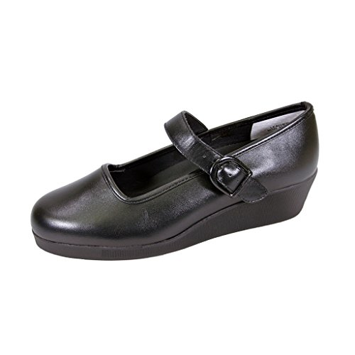 24 Hour Comfort  Justine (1813) Women Extra Wide Width Mary Jane Wedges Black 8.5 by 24 Hour Comfort