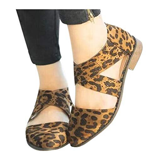 Shoes for Women Round Toe Platform Strap Flat Heel Buckle Leopard Sandals (Yellow -8, US:9.0)