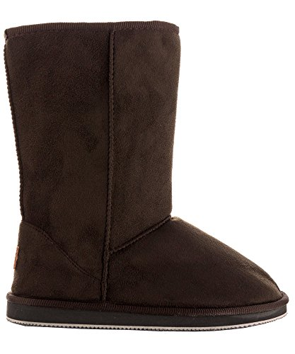 Review RF ROOM OF FASHION Room Of Fashion Winter Pull-On Mid Calf Boots – Comfort Shearling Fur Lined Vegan Suede Anti-Slip Rubber Sole – Exclusive Cell Phone Pocket Booties (Chocolate Suede Size 8)