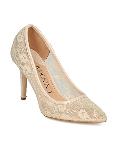 Alrisco Women Floral Lace Mesh Pointy Toe Stiletto Heel Pump - Classic Elegant Dressy Special Occasion Wedding Party - HE71 by Mackin J Collection Beige Mix Media AL9JsdH