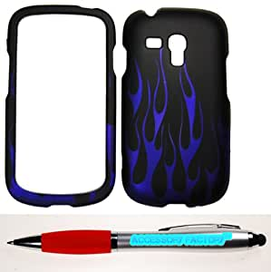 Accessory Factory(TM) Bundle (the item, 2in1 Stylus Point Pen) For Samsung Galaxy S3 Mini i8190 (AT&T) Rubberized 2D Design Blue Flame On Black Case Cover Protector