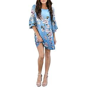 BELONGSCI Women's Dress Sweet & Cute Round-Neck Bell Sleeve Shift Dress Mini Dress with Big Pocket
