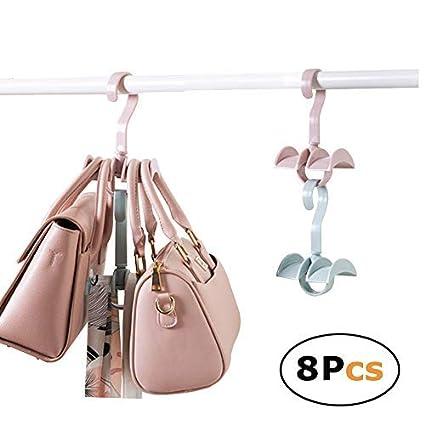 Ahorro de espacio apilables de almacenamiento para colgar armario organizador para bolsos bolsos con 2 ganchos (Set de 8)