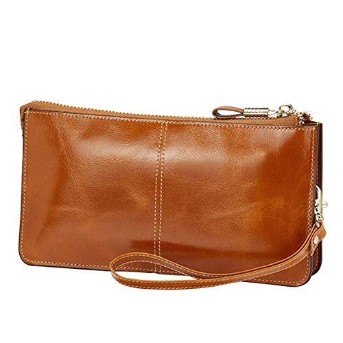 Lecxci Luxury Womens Genuine Leather Clutch Cell Phone Handbags, Zipper Wristlets RFID Blocking Wallets Purse for Women (Tan RFID Blocking)