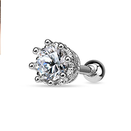 Vintage Victorian Antique Style 8 Prong Set CZ Tragus Barbell 316L Surgical Steel Cartilage Bar Helix Piercing 16g (Clear)