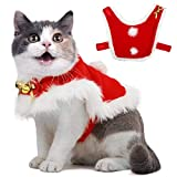 Pet Christmas Cloak Costume with Bells Soft Thick Fabric Pet Clothes Apparel Outfit Dress-up for Puppy Kitten Small Cats Dogs (L) Larger Image