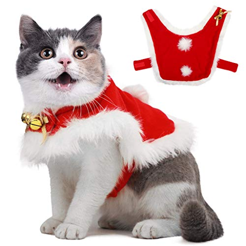 Pet Christmas Cloak Costume with Bells Soft Thick Fabric Pet Clothes Apparel Outfit Dress-up for Puppy Kitten Small Cats…