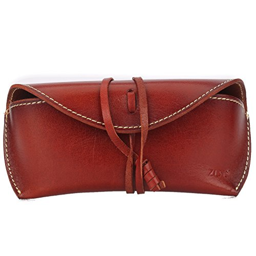 ZLYC Handmade Leather Collection Hard Eyeglass Case Sunglasses Holder (Brown)